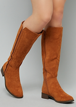 Cognac Faux Suede Knee High Boots