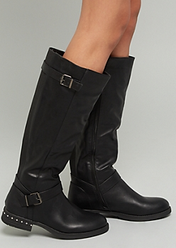 f0115de8b66 Black Faux Leather Double Buckle Knee High Boots