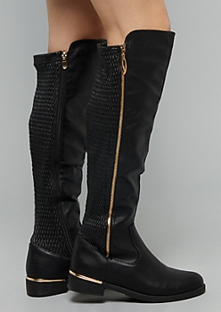 Black Side Zipper Knee High Boots