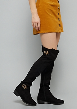 Black Faux Suede Double Buckle Strap Over The Knee Boots
