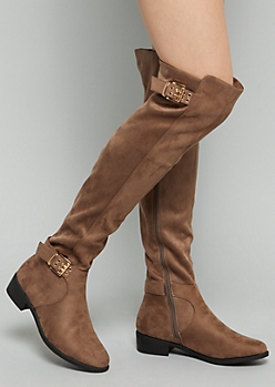Brown Faux Suede Double Buckle Strap Over The Knee Boots