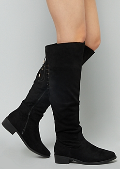Black Faux Suede Knee High Lace Up Boots