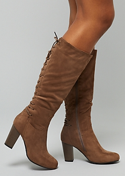 Taupe Faux Suede Lace Up Back Knee High Heeled Boots