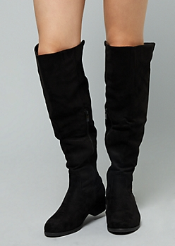 Black Faux Suede Back Zip Knee High Boots