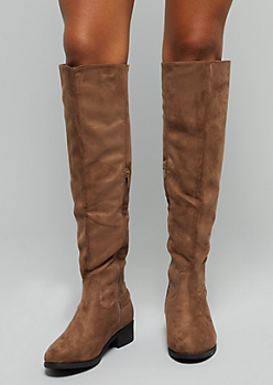 Taupe Faux Suede Back Zip Knee High Boots