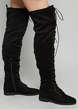 Black Faux Suede Lace Up Front Thigh High Boots