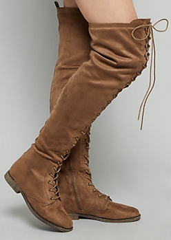 Taupe Faux Suede Lace Up Front Thigh High Boots