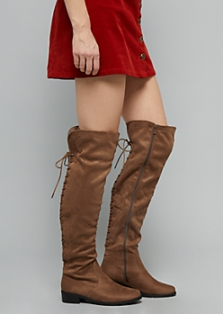 Brown Full Lace Up Faux Suede Over The Knee Boots