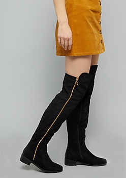 Black Faux Suede Gold Zip Over The Knee Boots