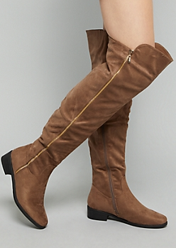 Brown Faux Suede Gold Zip Over The Knee Boots