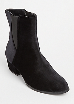 Black Faux Suede Double Gore Booties