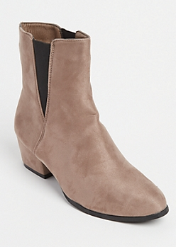 Taupe Faux Suede Double Gore Booties