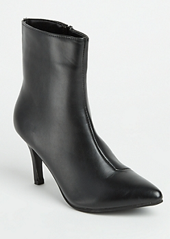 Black Faux Leather Stiletto Heel Booties