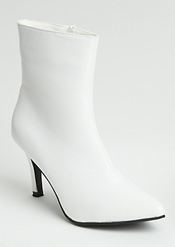 White Faux Leather Stiletto Heel Booties
