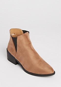 Taupe Slip On Heeled Booties