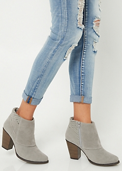 Gray Basket Weave Heeled Booties