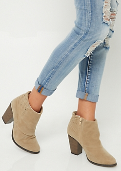 Sand Basket Weave Heeled Booties