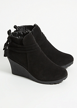 Black Tassel Strap Wedge Booties