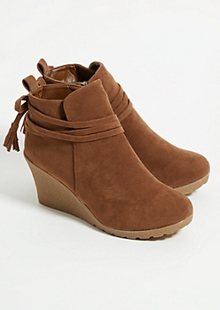 Brown Tassel Strap Wedge Booties