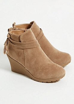 Taupe Tassel Strap Wedge Booties