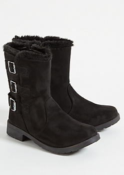Black Faux Fur Trimmed Strappy Buckle Boots