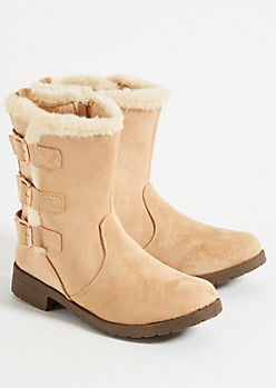 Tan Faux Fur Trimmed Strappy Buckle Boots