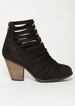 Black Faux Suede Strappy Ankle Booties