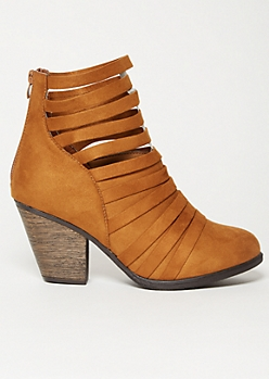 Cognac Faux Suede Strappy Ankle Booties
