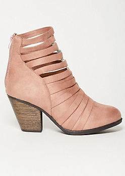 Pink Faux Suede Strappy Ankle Booties