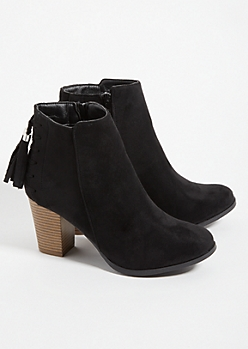 Black Tassel Stacked Heel Ankle Booties