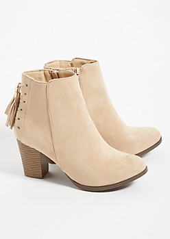 Sand Tassel Stacked Heel Ankle Booties