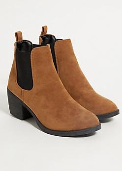 Cognac Block Heel Booties