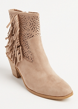 Tan Faux Suede Fringe Booties