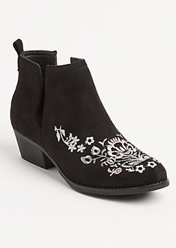Black Floral Cutout Booties