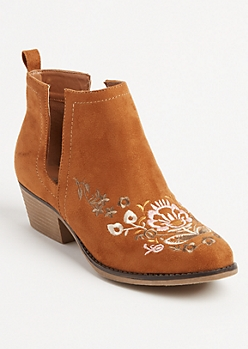 Brown Floral Cutout Booties