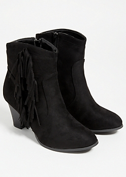 Black Fringed Side Faux Suede Bootie