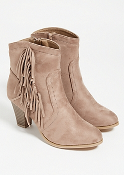 Taupe Fringed Side Faux Suede Bootie