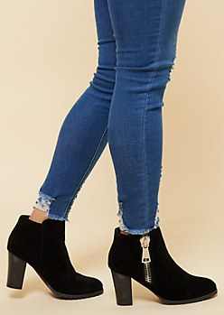 Black Chunky Sole Heeled Booties