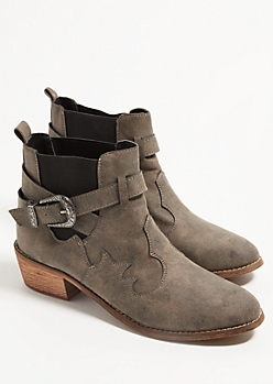 Gray Western Buckle Booties