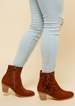 Cognac Perforated Tassel Heeled Booties