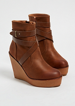 Cognac Strappy Wedge Platform Booties