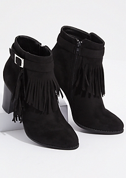 Black Fringed Buckle Strap Booties