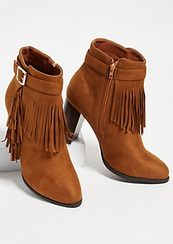 Cognac Fringed Buckle Strap Booties
