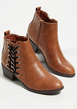 Cognac Lace Up Chain Faux Leather Booties