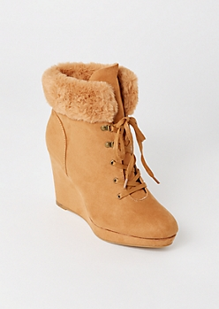 Tan Fur Trim Wedged Booties