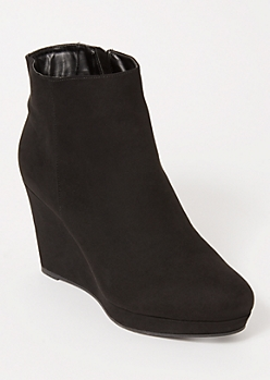 Black Faux Suede Wedged Booties