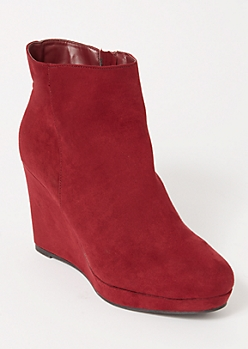 Burgundy Faux Suede Wedged Booties