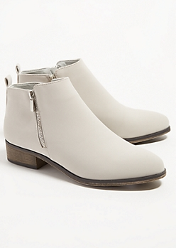 Gray Faux Leather Essential Short Booties