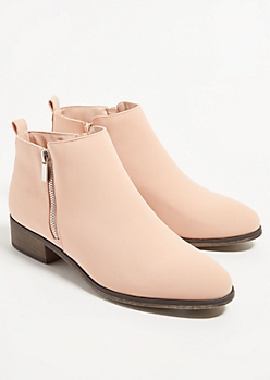 Pink Faux Leather Essential Short Booties