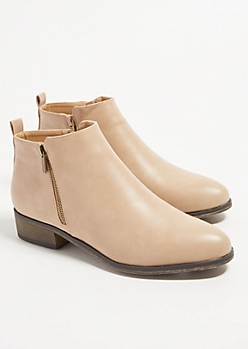 Taupe Faux Leather Essential Short Booties